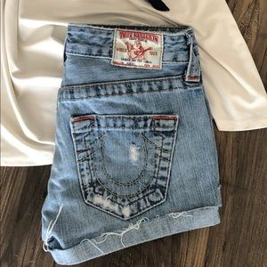 True Religion Distressed Bobby Cut-Off Jean Shorts